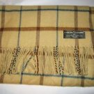 "D&Y David & Young Better Than Cashmere tan plaid acrylic long scarf 64"" x 12"""