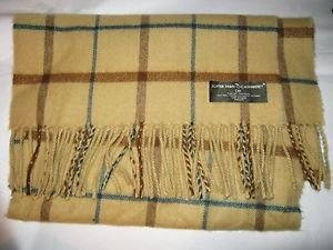 """D&Y David & Young Better Than Cashmere tan plaid acrylic long scarf 64"""" x 12"""""""