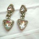 "Runway style large 2.5"" rhinestone dangle post pierced earrings silver tone"