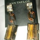 Ann Taylor rhinestone tiger eye stone amber lucite dangle pierced post earrings