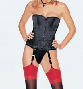 Satin Metal Boned Corset - LARGE