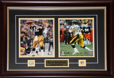 Terry Bradshaw Pittsburgh Steelers 2 photo signed frame