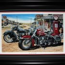Two For the Road Harley Davidson Indian Motorcycle Art Print frame