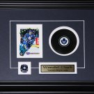 Wendel Clark Toronto Maple Leafs signed card with puck frame