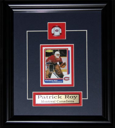 Patrick Roy Montreal Canadiens Reproduction Rookie Card frame