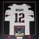 Tom Brady New England Patriots signed jersey frame white