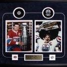 Maurice Richard & Wayne Gretzky 2 photo puck frame