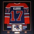 Jari Kurri Edmonton Oilers signed jersey frame