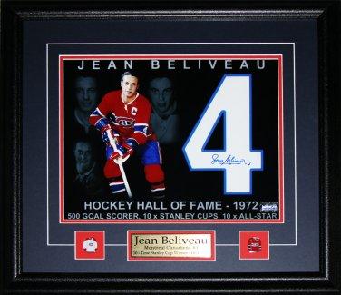 Jean Beliveau Montreal Canadiens signed 11x14 frame