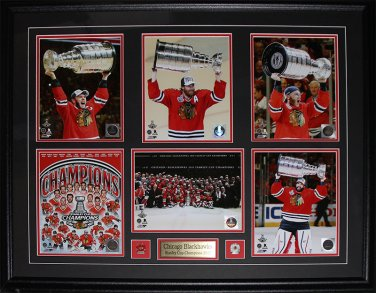 2015 Chicago Blackhawks Stanley Cup Champions 6 Photo compilation frame
