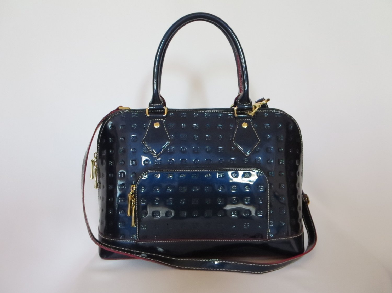 New Authentic Arcadia Ocean Patent Genuine Leather  Tote/Shoulder/Handbag Article 3640 Italy