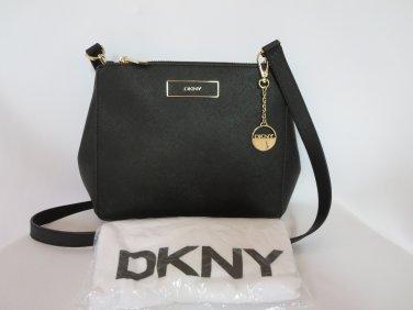 New DKNY Donna Karran Black Saffiano Genuine Leather Crossbody Handbag