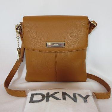 New Authentic DKNY Donna Karan Camel Soft Genuine Leather Messenger/Croosbody Handbag