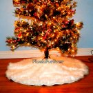 5' round Warm White Christmas Tree Skirt Luxury Faux Fur White Snow Like Christmas Decor