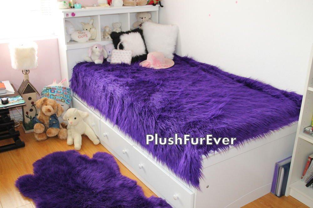 "114""x120"" Cal King Purple Mongolian Luxury Fur faux fur"