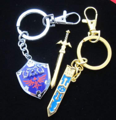 Legend of Zelda Link sword keychain removable Sword Hylian Shield zinc jewelry