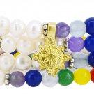 Seven Chakra Yoga Meditation Healing White Freshwater Cultured Pearls Mala Wr...