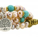 Mandala Crafts Pink and Purple Freshwater Pearls 108 Mala Bracelet, Tree of Life