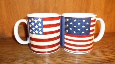 TW0 AMERICAN FLAG CUPS MUGS