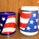 TW0 AMERICAN FLAG CUPS MUGS