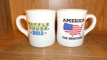 TWO WAFFLE HOUSE AMERICA THE BEAUTIFUL CUPS MUGS 2012