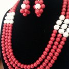 Coral & Silver Necklace and earring set