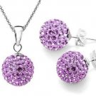 Purple Crystal Necklace & earring set