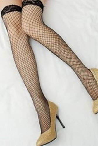 2 pairs-Thigh High Fishnet stockings with Lace Top- 4 colors- sexy seductive naughty lingerie