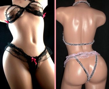 Exotic Lace Open Thong V-string & Bra Set Lingerie- sexy underwear