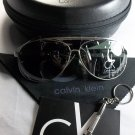 Calvin Klein Lightweight, Polarized Aviator Sunglasses-Silver Frame/Green Lens