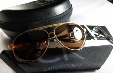 Calvin Klein Lightweight, Polarized Aviator Sunglasses-Gold Frame/Brown Lens