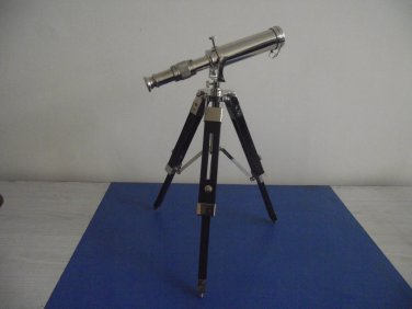 "Nickel Finish Brass Table Top Telescope 9"" Wood Tripod Table Decor"