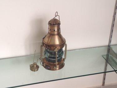 ANTIQUE FLOWER BLOSSOM GLASS OIL LAMP LANTERN BRISTOL BRASS FONT BURNER LANTERN REPLICA