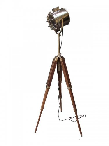 SEARCH LIGHT WITH  NATURAL WOOD TRIPOD STAND