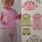 McCalls Sewing Pattern 4755 Baby Infant Jacket Dress Panties Size S-XL UC
