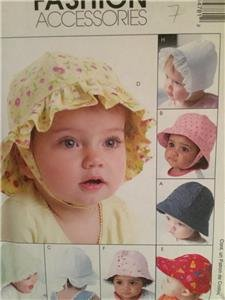 McCalls Sewing Pattern 4478 Baby Infant Bonnet Hats Size NB-XL Uncut