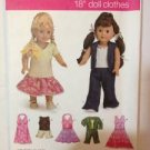 """Simplicity Sewing Pattern 3764 18"""" (45.5cm) Doll Clothes Uncut"""