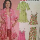 McCalls Sewing Pattern 5989 Ladies Misses Robe Pants Top Nightgown Size 4-12 UC