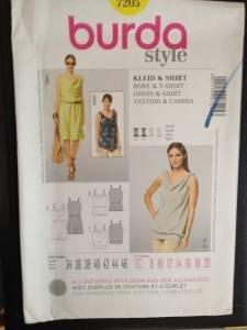 Burda Sewing Pattern 7205 Ladies  Dress & Shirt Size 8-20 Uncut
