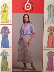 McCalls Sewing Pattern 4508 Misses Shirts Bias Dress Size 8-14 Uncut