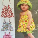 McCalls Sewing Pattern 6727 Baby Infant Reversible Top Dress Shorts Size NB-XL