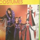 McCalls Sewing Pattern 4151 Girls Gothic Vampire Costume Size 7-14 Uncut