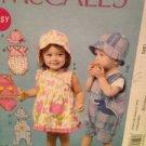 McCalls Sewing Pattern 6494 Infants Dress Romper Hats Panties Size NB-LG Uncut