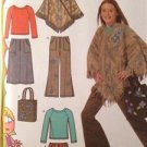 Simplicity Sewing Pattern 4897 Girls Pant Skirt Ponchos Tops Bag Size 81/2-161/2