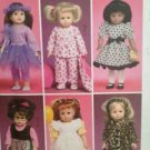 "McCalls Sewing Pattern 6005 18"" Doll Clothes Tutu PJ Booties Pinafore Dress UC"