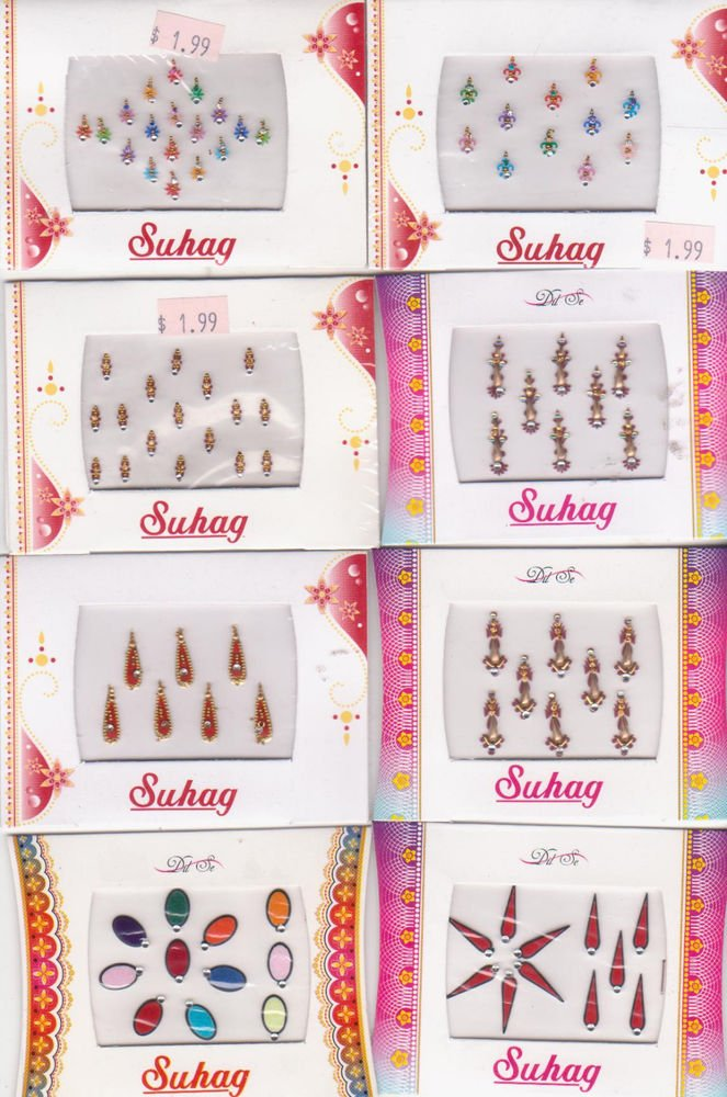 Bollywood Bindis -Total 8 sheets 96 fancy bindis -Assorted design and color