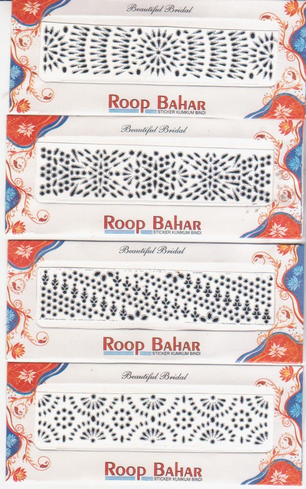 Bollywood Bindis -Total 6 sheets -For Bridal make up Do it yourself [ Fancy ]