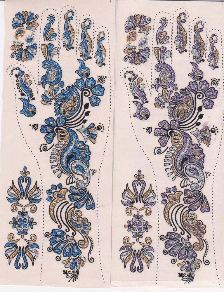 Bollywood Mehndi Tattoo  10 Sheets - Assorted Design -Very Attractive once apply