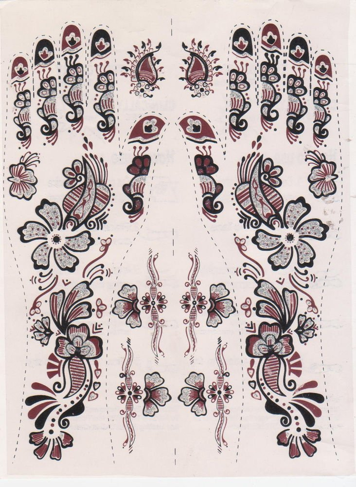 Bollywood Mehndi Tattoo - 3 Sheets - Assorted Design -Very Attractive once apply