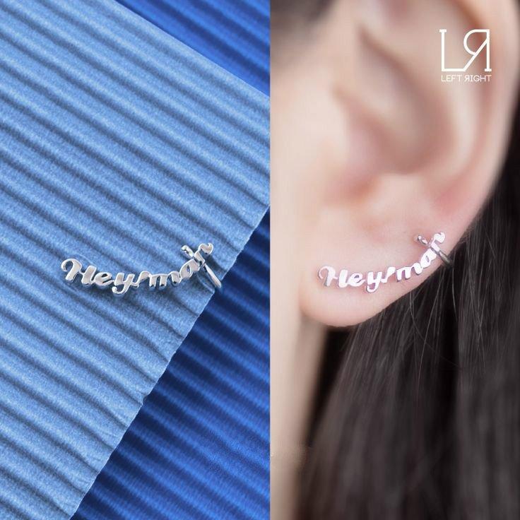 Hey!Man - 925 Sterling Silver English Word Single Stud Earring, Women Girl Teens Jewelry C06386L